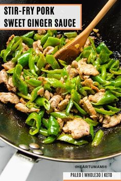 Chinese Ginger Pork Stir-Fry is the best Keto stir-fried pork recipe with a sweet/tangy pork tenderloin marinade and stir-fry sauce! Easy, fast, healthy! #porkrecipes #stirfry #tenderloin #ketorecipes #asianrecipes Paleo Meal Prep, Whole30 Dinner Recipes, Paleo Recipes Easy, Whole 30 Recipes, Clean Eating Recipes, Pork Recipes, Asian Recipes, Pork Tenderloin Marinade, Pork Marinade