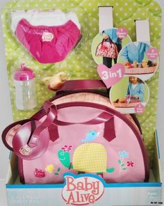 baby+alive+bottle+set | New Baby Alive 3 in 1 Diaper Bag for Doll Cloth Diapers Bottle | eBay