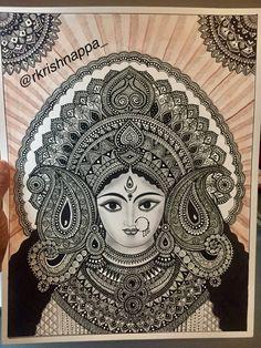 Items similar to Hindu Goddess Durga , Home Decor art print on Etsy Doodle Art Drawing, Zentangle Drawings, Pencil Art Drawings, Art Drawings Sketches, Disney Drawings, Madhubani Art, Madhubani Painting, Mandala Painting, Mandala Drawing