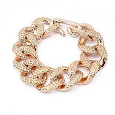Bransoletka łańcuch z fakturą złota