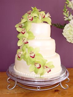 White wedding Cake with orchid flowers