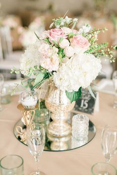 Top 23 Remarkable Rustic Wedding Centerpieces---blush and white wedding table with dahlias and roses, spring weddings, elegant wedding ideas. Mirror Centerpiece, Flower Centerpieces, Centerpiece Ideas, Simple Centerpieces, Centerpieces With Mirrors, Mercury Glass Centerpiece, Mercury Glass Wedding, Masquerade Centerpieces, Glass Vase