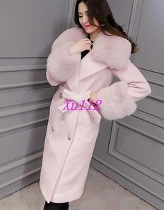 Chic Womens Long Large Fur Double-Breasted Casual Collar Coats Jackets Outwears