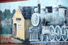 Wall mural depicting old railroad station in Hurricane, West Virginia