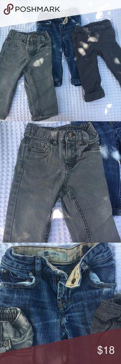 Pants Bundle Baby Gap Loose Fit blue Jeans, Cherokee Gray Denims and Gymboree dark gray knit pants baby gap, cherokee and gymboree Bottoms
