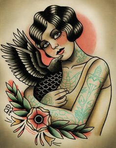 Flapper and Crow Tattoo Art Print by ParlorTattooPrints on Etsy, $28.00