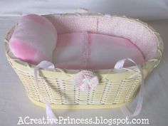 Baby doll bed out of a basket. So cute and looks really easy. I think Ellie would love this.