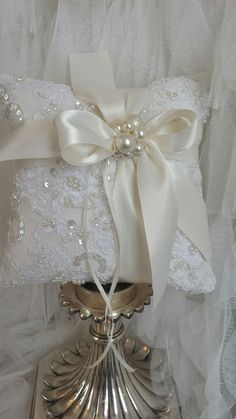 Pearl Ivory Embellished Alencon and Satin Ring by simplybridal1