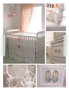 Mrs Sunglasses' peach and mint nursery - I love the embroidery hoops hung like that - would be fun to paint them gold