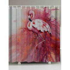 Flamingo Waterproof Shower Curtain with Hooks