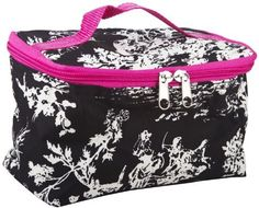 Black Toile Cosmetic Makeup Travel Case with Pink Trim by Private Label. $7.95. Top Handle. Main Enclosure: Zipper. Soft Sided. Lining: Padded Microfiber. Material: Microfiber. Get organized with this multipurpose makeup bag to store brushes, eye shadows, lipsticks, and your other supplies for your beauty regimen. Use it for toiletries for traveling or keep your skincare essentials easy to grab and go to the gym. Compact enough to slip into a tote bag or school bag...