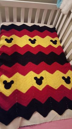 This is a made to order crocheted chevron blanket with either Minnie Mouse or Mi… Disney Crochet Patterns, Crochet Disney, Afghan Crochet Patterns, Mickey Mouse Blanket, Crochet Mickey Mouse, Crochet Quilt, Baby Blanket Crochet, Crochet Baby, C2c