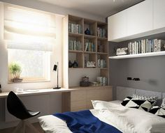 furnishing ideas bedroom gray color wood wall shelving system
