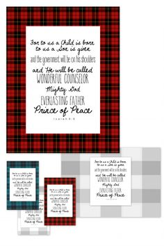Verse of the Month: December (Isaiah 9:6) Red, Blue and Gray Plaid Free Printable!