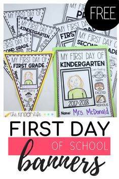 Free first day of school banners and posters! Prek, kindergarten, first grade, and second grade. Display in your classroom!