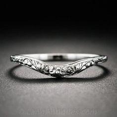 Vintage Style Floral Design Contoured Wedding Band - 110-1-6023 - Lang Antiques