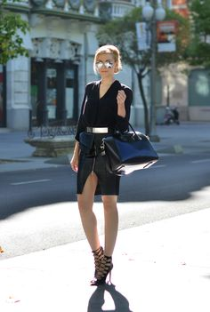 Zara skirt and ASOS peplum belt; shown on Oh My Vogue