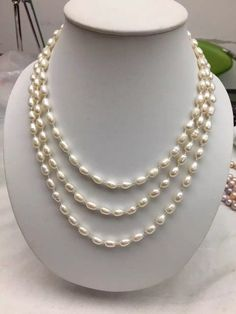 White Gold Wedding Jewelry, Wedding Jewelry Sets for Brides, Bridal Flower Necklace, Bridal 14 Gold Earrings, Personalized Wedding Jewelry - Custom Jewelry Ideas Real Pearl Necklace, Pearl Necklace Designs, Pearl Necklace Wedding, Long Pearl Necklaces, Gold Earrings Designs, Freshwater Pearl Necklaces, Pearl Jewelry, Beaded Jewelry, Beaded Necklace