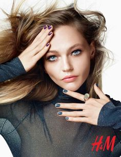 Sasha Pivovarova with smudged eyeshadow and teased tresses for H&M Beauty fall-winter 2015 campaign