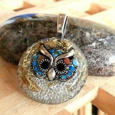 ORGONIT *Symbol moudrosti, Sova* šperk křišťál minerály energie drahé kameny osobní orgonit stones.luxusní pendant
