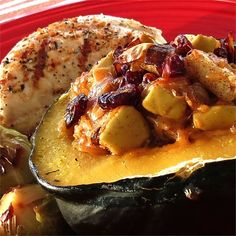 "Apple-Stuffed Acorn Squash | ""My husband said it was the BEST squash he had ever eaten, and his mom was a wonderful Italian cook! Will Definitely make again and again."""