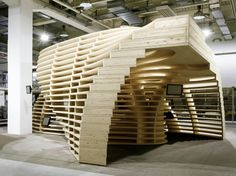 Designed by Frei+ Saarinen Architekten, the aim of the Lignum Pavilion is to inform the public about the possibilities of wood applications in the construction field.