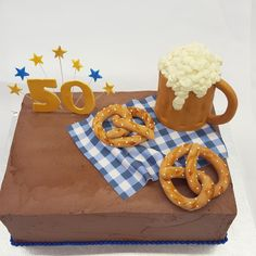 A chocolate Oktoberfest cake with fondant pretzels and beer. What could be better?