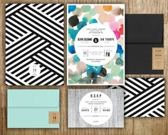 modern black & white with birght color wedding invitations // patterned wedding invitations