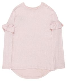 Soft touch long sleeve top with frill detailing on the sleeves and crew neckline. Long Sleeve Tops, Bell Sleeve Top, Baby Wearing, No Frills, Shop Now, Kids Outfits, Overalls, June, Size 10