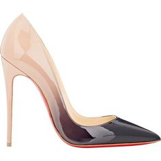 Christian Louboutin Degrade Patent So Kate Pumps (£485) ❤ liked on Polyvore featuring shoes, pumps, heels, scarpe, schoenen, black, high heel shoes, black pumps, black slip on shoes and black patent pumps
