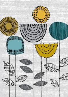 From the mod representations of the flowers to the use of blue and yellow (and black, gray and white) as colors, this print represents perfect design.  (etsy seller: EloiseRenouf)