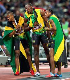Usain Bolt (centre), Warren Weir (left) and Yohan Blake (right) Cool Runnings all right!! Go Jamaica :)