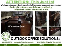 Home Page, Links to all other pages. Visit our Office Furniture Outlet. All Wood Furniture, Used Office Furniture, Furniture Outlet, Online Email, Conference Table, Bookshelves, Filing Cabinet, Website, Home
