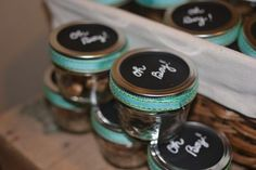 Favors - made out of baby food jars? with ribbon hot glued around lid & caterpillar cut out on top? Mason Jar Favors, Mini Mason Jars, Painted Mason Jars, Cute Baby Shower Gifts, Baby Shower Favors, Baby Shower Parties, Baby Showers, Bridal Shower, Party Gifts