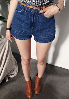 [DABAGIRL] HIGH-WAISTED DARK WASH DENIM SHORTS