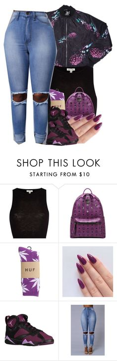 """."" by renipooh ❤ liked on Polyvore featuring River Island, MCM, HUF, women's clothing, women, female, woman, misses and juniors"
