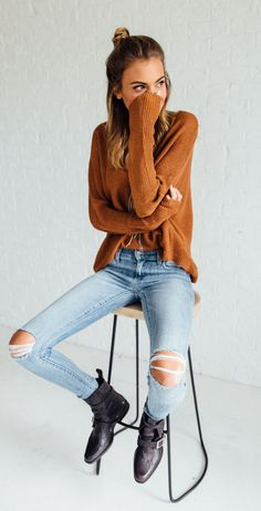 summer outfits Camel Knit + Destroyed Skinny Jeans + Black Booties