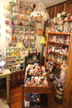 everyone once in a while I like to give old Mistress Fate a look in the eyes and say thanks.Hello Monday, and today seems l. Vintage Craft Room, Vintage Crafts, Sewing Spaces, Sewing Rooms, Craft Room Storage, Craft Rooms, Shabby Chic Cabin, Bude, Dolls House Shop