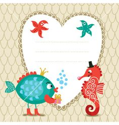Greeting card with cute fish and seahorse vector - by Lenlis on VectorStock®