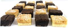 All things Caramel - dulce de leche brownie with caramel crumble slice Caramel Brownies, Catering, Bakery, Sugar, Tea, Desserts, Food, Panna Cotta, Kitchens