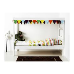 ÖVRE Bed with slatted base and canopy IKEA A bed canopy gives privacy and creates a room-in-room feeling.