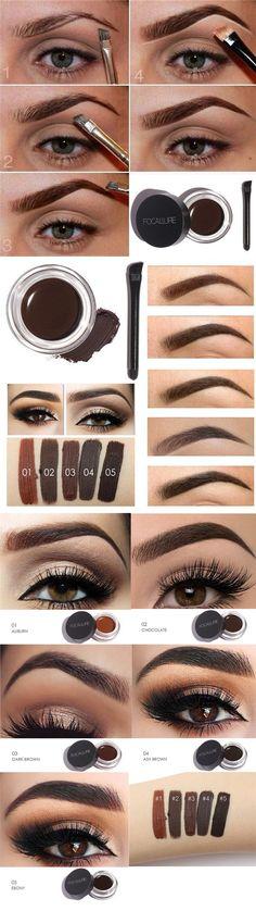 [$ 6.99]  FOCALLURE Waterproof Eyebrow Enhancer Cosmetics Brown Black Eyes Makeup Eye Brow Cream
