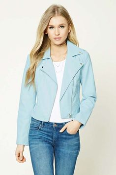 This color is beautiful! Faux Leather Moto Jacket with zippered pockets #aff