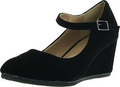 Forever Link Womens Patricia-05 Mary Jane Strap Faux Suede Wedge  Pumps,Black Suede 402462f5fb