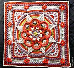 Transcendent Crochet a Solid Granny Square Ideas. Inconceivable Crochet a Solid Granny Square Ideas. Crochet Mandala Pattern, Crochet Square Patterns, Crochet Blocks, Crochet Granny, Knit Crochet, Crochet Squares Afghan, Crochet Cushions, Crochet Pillow, Afghan Patterns
