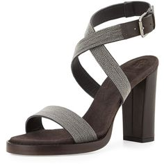 Brunello Cucinelli Monili Crisscross High-Heel Sandal ($1,845) ❤ liked on Polyvore featuring shoes, sandals, graphite, strappy high heel sandals, leather strap sandals, leather sole shoes, high heel sandals and ankle strap high heel sandals