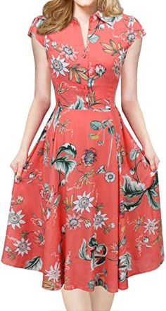 Shop a great selection of iLover Women V-Neck Cap Sleeve Floral Vintage Rockabilly Swing Dress Pockets. Find new offer and Similar products for iLover Women V-Neck Cap Sleeve Floral Vintage Rockabilly Swing Dress Pockets. Simple Dresses, Elegant Dresses, Casual Dresses For Women, Pretty Dresses, Sexy Dresses, Vintage Dresses, Dress Outfits, Dresses For Work, Fashion Outfits