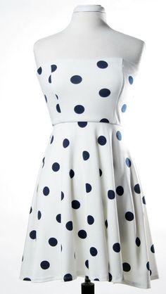 Dot Strapless High-Low Dress