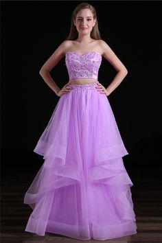 Purple two piece prom dress strapless a line hand made beading sleeveless floor length long evening girls gown sweethear formal party dress online Strapless Prom Dresses, Sweetheart Prom Dress, Unique Prom Dresses, Beaded Prom Dress, Prom Dresses 2017, Grad Dresses, Sexy Dresses, Evening Party Gowns, Evening Dresses