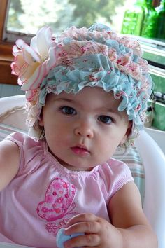Baby Bonnet Hat Shabby Chic My Cottage Rose Precious por nippykat